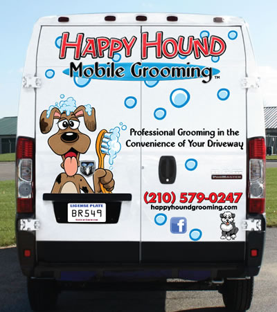 Happy Hound mobile dog grooming truck San Antonio home visit